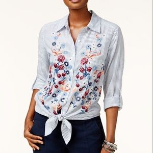 Style & Co l Striped Embroidered Button down Top